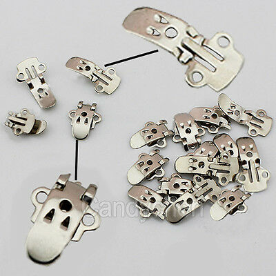 20/50/100X Blank Stainless Steel Shoes Flower Clips On Findings Craft DIY Buckle
