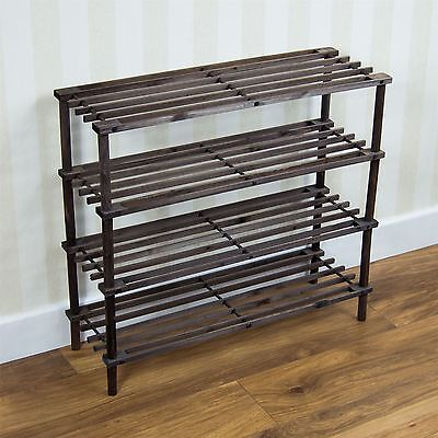 4 Tier Slated Shoe Rack Oak Wooden Storage Stand Organiser Unit By Home Discount