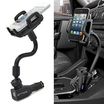 Dual 2 USB Ports Car Cigarette Lighter Charger Mount Holder For Mobile Phone GPS