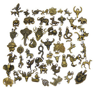 Lot-of-20-Vintage-Bronze-Alloy-Charms-Mixed-Animals-Pendants-Craft-Findings