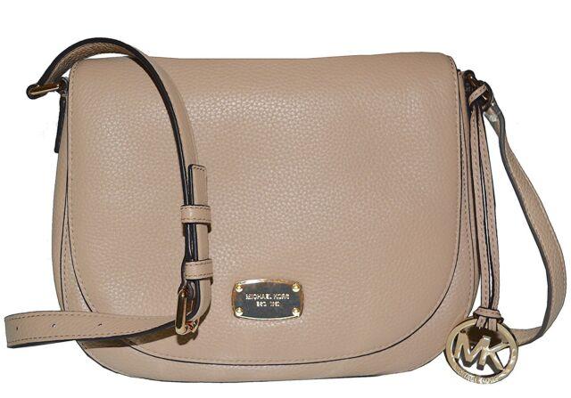 Michael Kors BEDFORD Medium Saddle Shoulder Bag Hobo Handbag Bisque Nwt  248 17dc34a1193f9