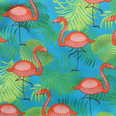 "Turquoise Flamingo 100% Printed Cotton Poplin Fabric Material 150cm 59"" wide"