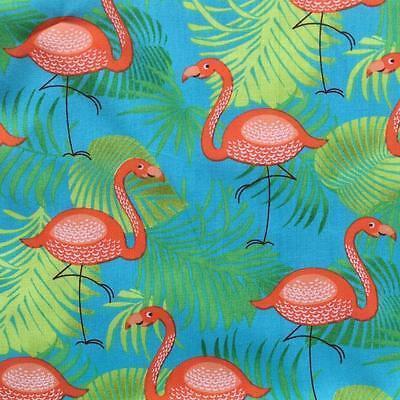 "Turquoise Flamingo 100% Printed Cotton Poplin Fabric Material 150cm 59"" wide"