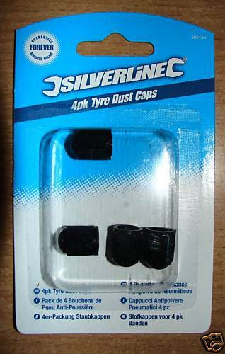 BLACK RIBBED DURABLE PLASTIC TYRE DUST CAPS WHEEL VALVE PACK OF 4