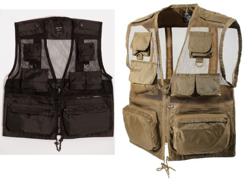 Mens Recon Vest Black /& Coyote Brown 10 Pocket Fishing Camping Hiking VEST S-3XL