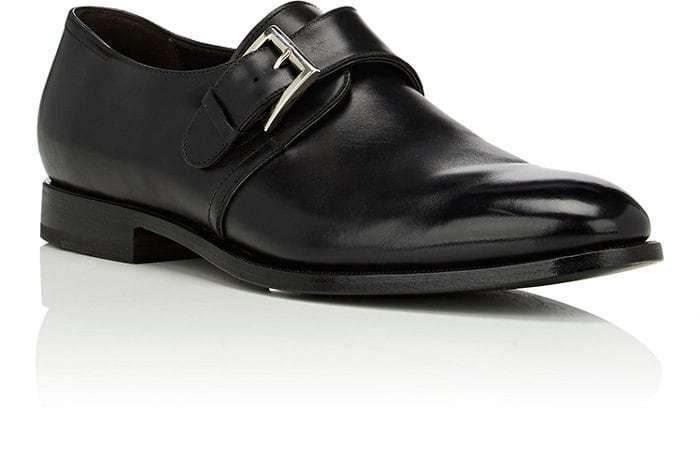FRANCESCHETTI Monk Strap Derby Chaussures en Cuir Noir Argent Boucle Italie Taille 12
