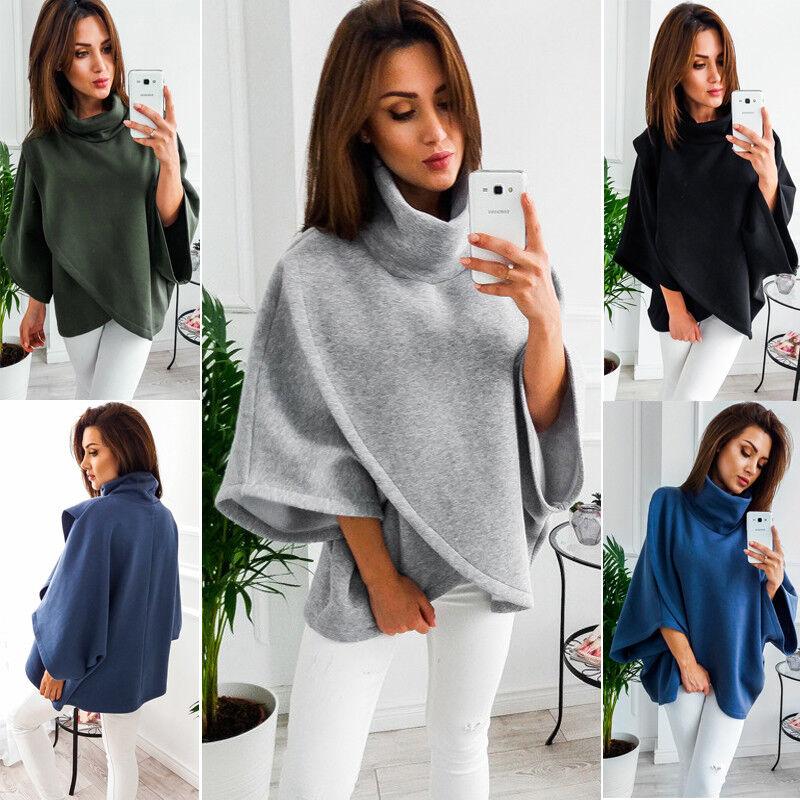Frauen Lose Fledermaus Wolle Poncho Winter Warme Mantel Jacke Mantel Cape Parka Outwear