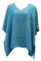 Match Point Kimono Tunic Linen Teal Oversized Plus Size 1x 2x