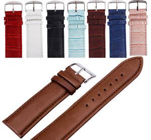 12-14-16-18-20-22-24-26mm-Soft-Bandeau-Absorbant-Cuir-Bracelet-Acier-Boucle