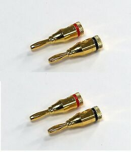 4x Pair Audio Speaker Wire Cable Closed Screw Banana Plug Connector Gold Plated