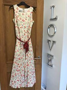 Ashley Slitt Dress Print Ermeløs Laura Floral Gorgeous 12 gang En Maxi Vintage Uk wA5TBn6qx