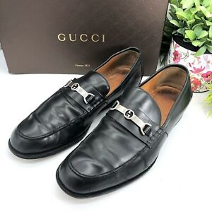 Gucci-Authentic-Vintage-GG-Logo-Men-s-Loafers-Black-Leather-11-US-11-5-12