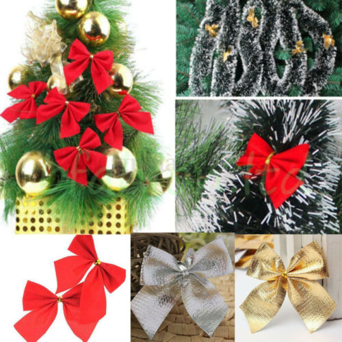 Christmas Tree Bow Decoration Baubles XMAS Party Garden Bows Ornament CA YB