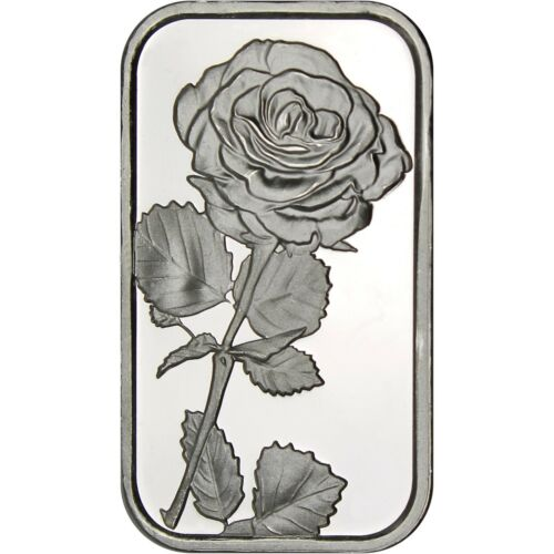 Red Ribbon Box Rose 1oz .999 Fine Silver Bar by SilverTowne