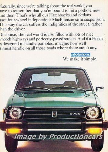 1979 Honda Civic Real World Original 2-page Advertisement Print Art Car Ad J744