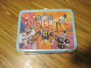 1978-NFL-National-amp-American-Conference-Football-Metal-Lunchbox-With-Thermos
