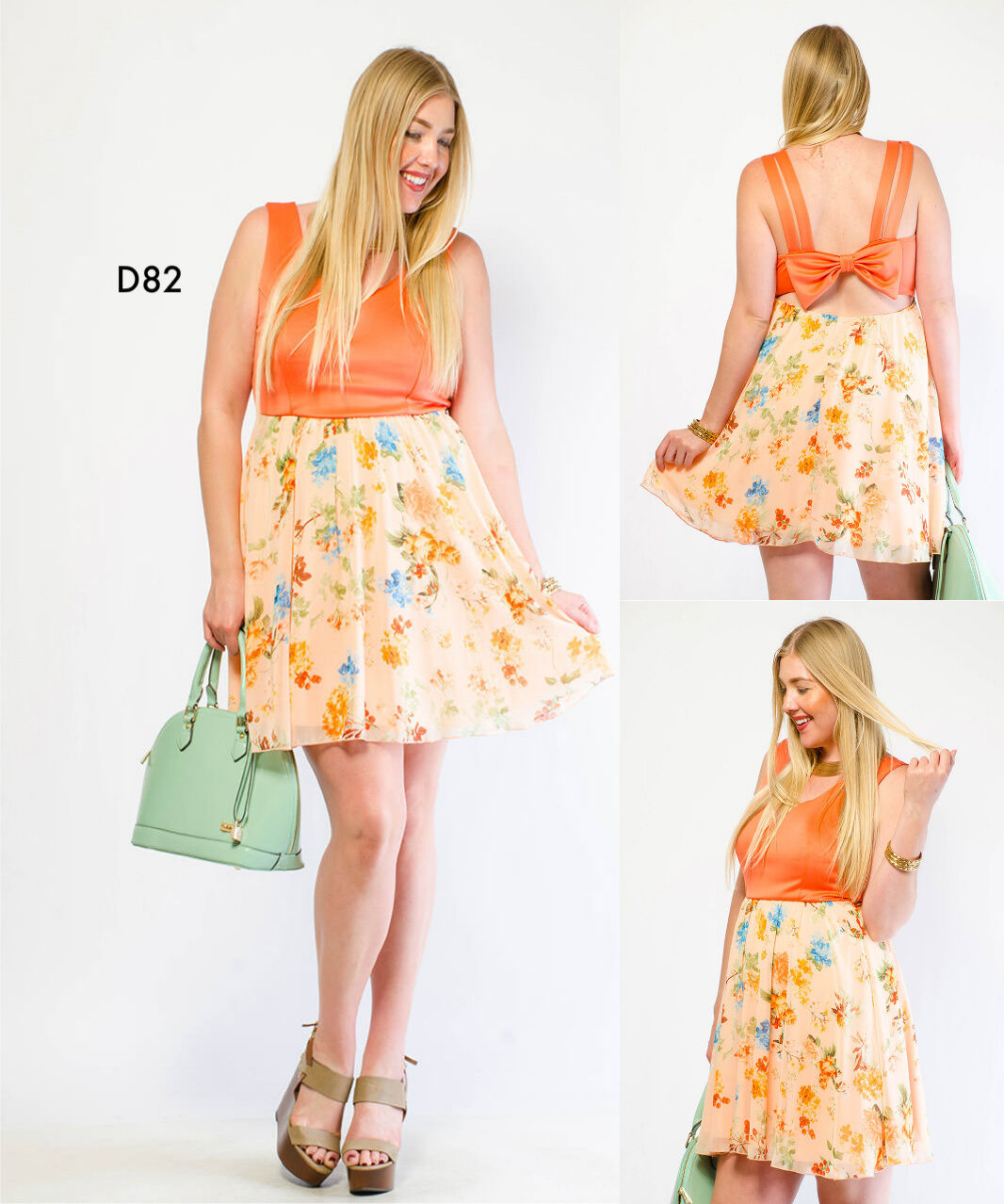 D82 Ladies Size 18 20 Coral Wedding Sleeveless Day Summer Beach Party Dress Plus