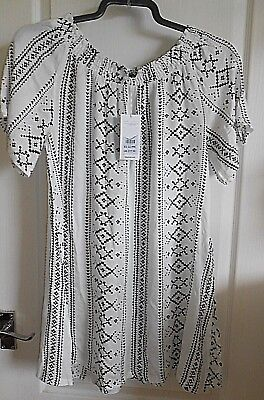 BNWT NEW LOOK Brown Aztec Print Bandeau Strapless Beach Playsuit Size Small