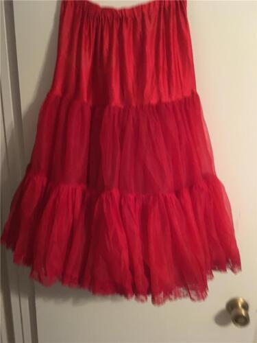 Vintage Very Full Red Crinoline  rock a billy Medium #391