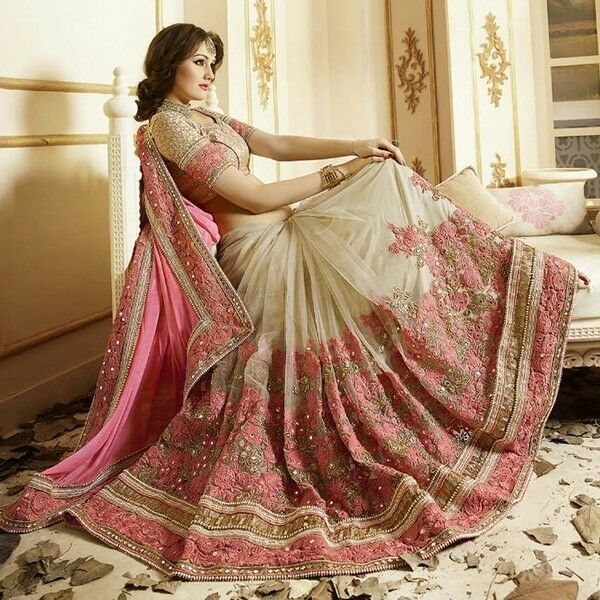 Indian Stylish Designer Bollywood Ethnic Pink  Saree Party Wear Sari Traditional