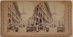 Bern Rue Principale Germania Foto Stereo Vintage Albumina
