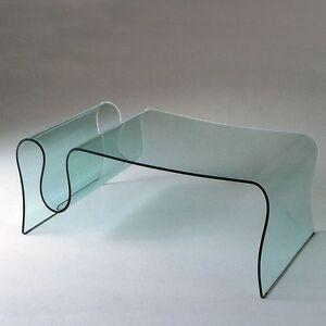 Tavolino in vetro curvato Wave - da fumo, salotto, soggiorno, sala ...