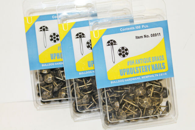 300 BullDog HardWare Antique Brass #9H Upholstery Nails Tacks Studs