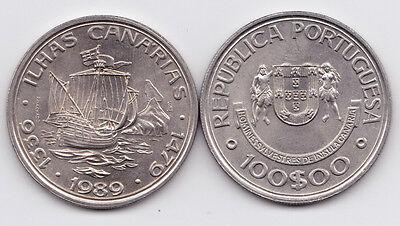 PORTUGAL 1989  100 ESC.  ISLAS CANARIAS NI  UNC