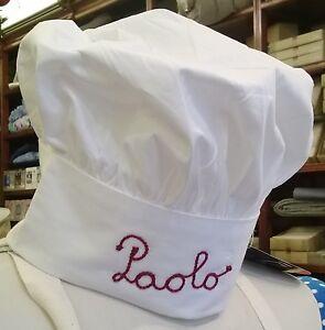 Ambitieux Cappello Da Cuoco, Chef, Pizzaiolo, Ristorante, Regolabile, Nome Ricamato