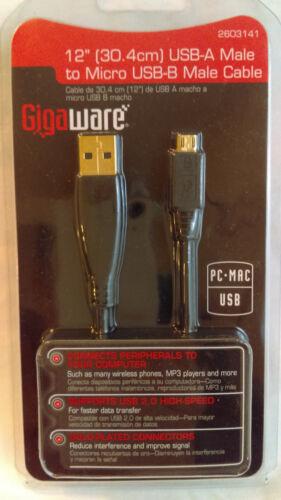 "Radioshack Gigaware 12/"" USB-A Male to Micro USB-B Cable  260-3141"