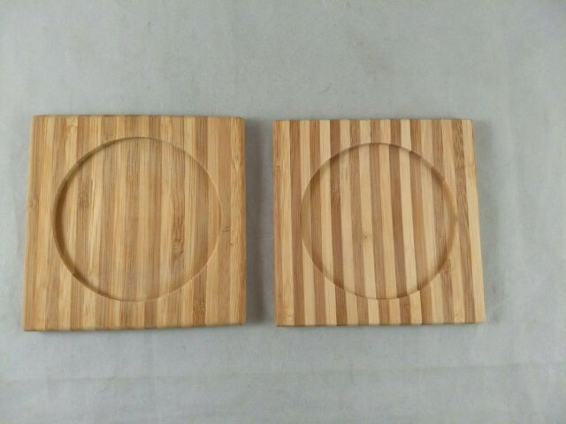 Natural Bamboo Drink Coaster Set of 2, Square with Round Indentation for Glass