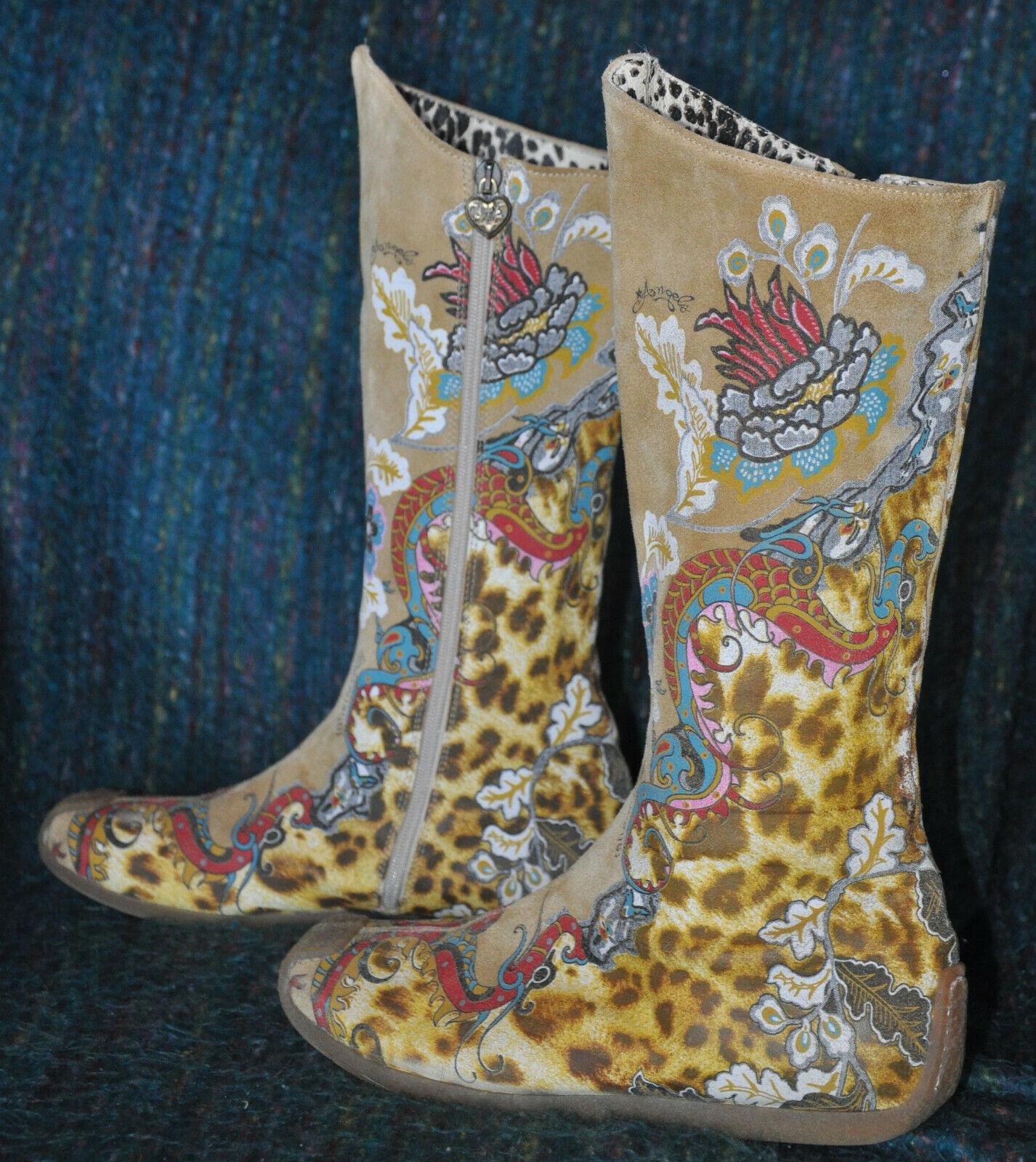 Roberto Cavalli ANGELS Tan Camel Suede LEATHER Leopard FLAT Boots Sz 40 US9