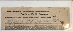 U.S. Southern Pacific Company 1900s Straight Bill of Lading Goods Invoice