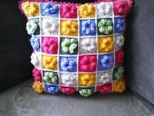 "Hand made ,crochet flower cushion cover 14 "" x 14"" approx."
