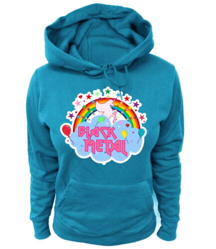 Da Donna Hoodie-Black Metal Heavy Death Rainbow Hipster Fun Unicorn FANTASY R.F.