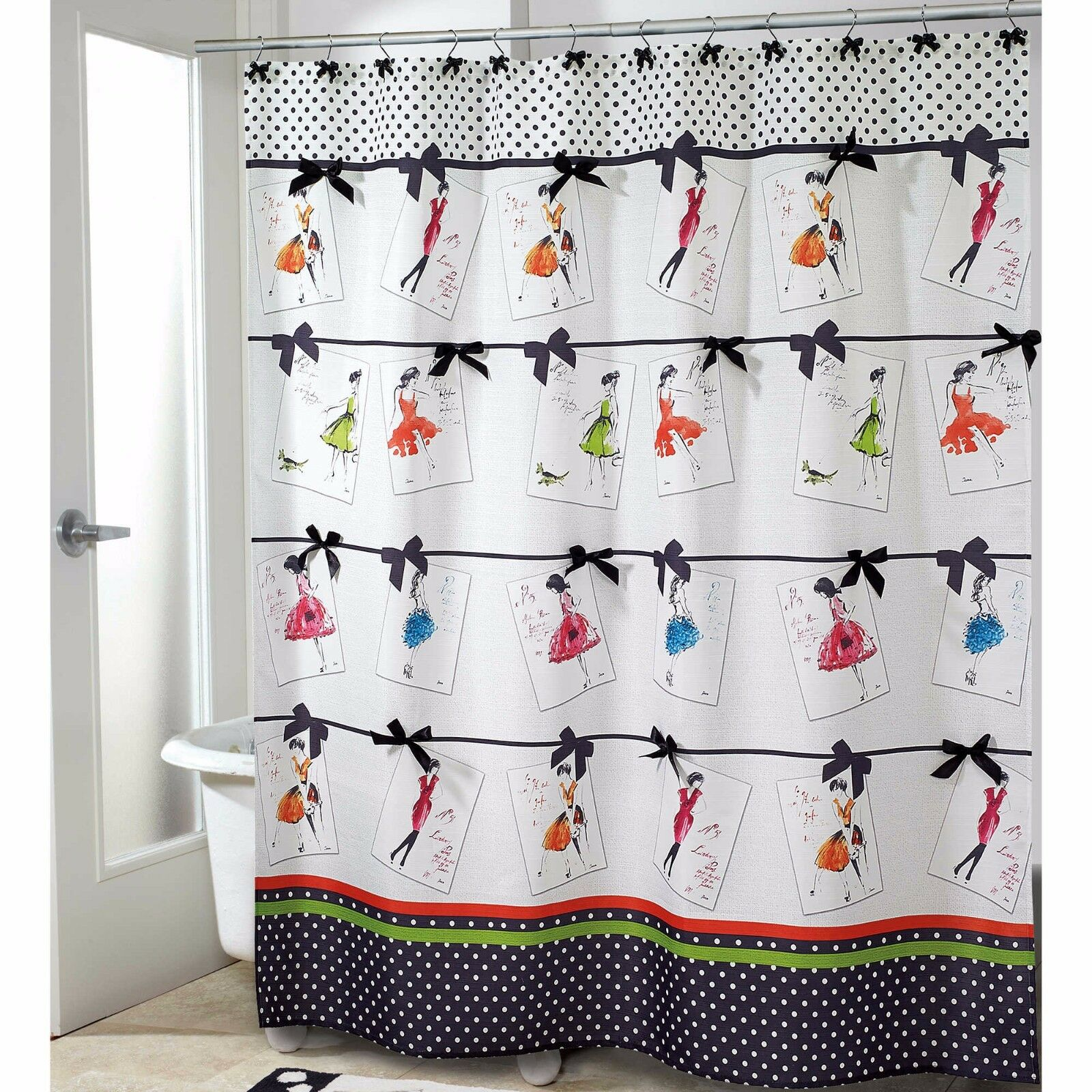 Avanti Couture Girls Fabric Fabric Fabric Shower Curtain Diva Woman