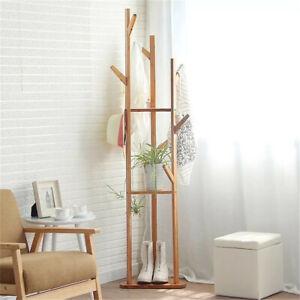Details about Simple Coat Rack Solid Wood Bedroom Hanger Clothes Rack  Storage Flower Stand