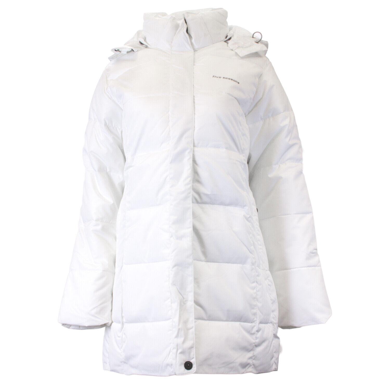 Fem årstider Kvinnlig vit Dalia Puffer Coat  150 ny