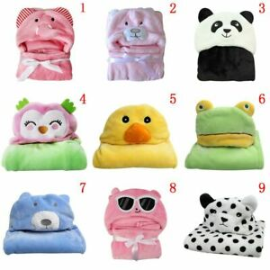 Toddler-Girl-Boy-Animal-Hooded-Blanket-Baby-Bathrobe-Bath-Towel-Flannel-Wrap