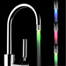 Kitchen/Bathroom 7 Color Sensor LED Light Water Faucet Tap Temperature + Thread