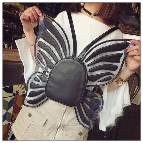 3D Animal Butterfly Wing Shoulder Bag NEW Girl Leather Zipper Backpack Schoolbag