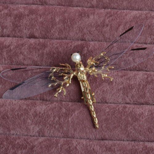 Golden Dragonfly Bridal Jewelry Wedding Handmade Hair Clip Pins Accessories Cute