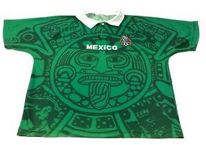 VINTAGE-Mexico-Soccer-Jersey-Size-2XL-XXL-Green-Shirt-Dry-Fit-Polo-Tee-Aztec-Men