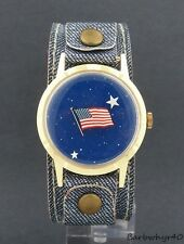 Vintage wind-up American Flag Mystery Dial Patriotic Novelty Watch by Lafayette