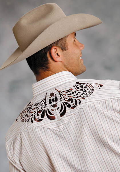Roper Mäns vit brun Striped Embroideröd Western Rodeo Dress L S Shirt M L XL