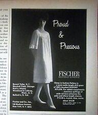 1966 Vintage Women's FISCHER Waltz Length Shift Gown Lingerie Fashion Ad