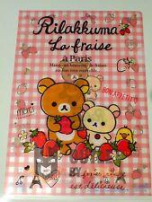 San-x Pink Rilakkuma La Fraise A Paris Kawaii 1 Plastic File Folder