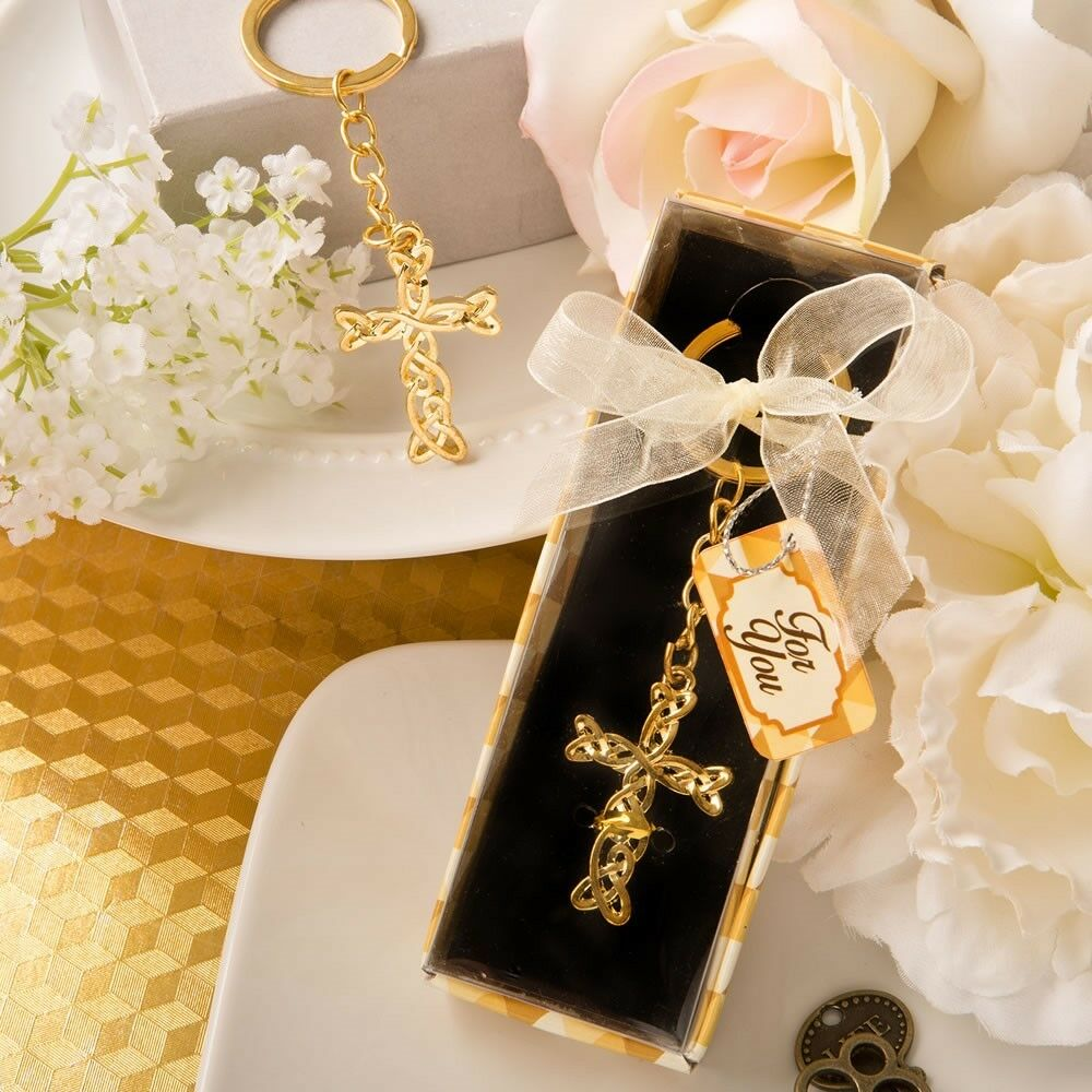 40 Gold Braided Cross Keychain Christening Baptism Shower Religious Party Favors