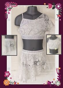 Lace Two Piece Lyrical Modern Contemp Dance Costume Crystals In Stock Also Red by Ebay Seller