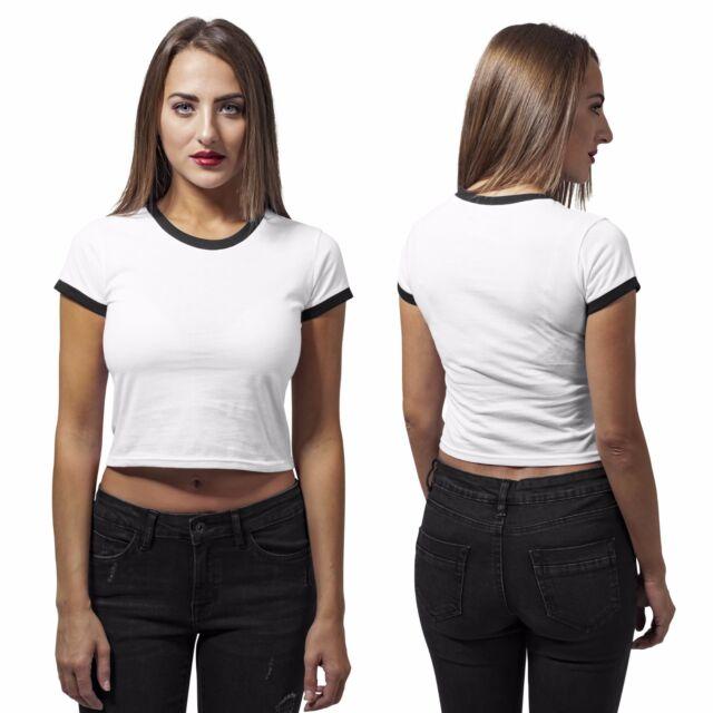 97ce4dbf567711 Urban Classics Ladies - Cropped Ringer Tee White   Black M for sale ...